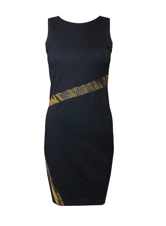 "DRESS ""FLASH  TIGER GOLD"" - HANDMADE - BLACK"