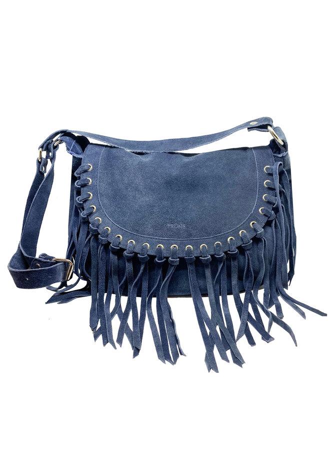 SUEDE BAG WITH FRINGES - BLUE - ARGENTINA