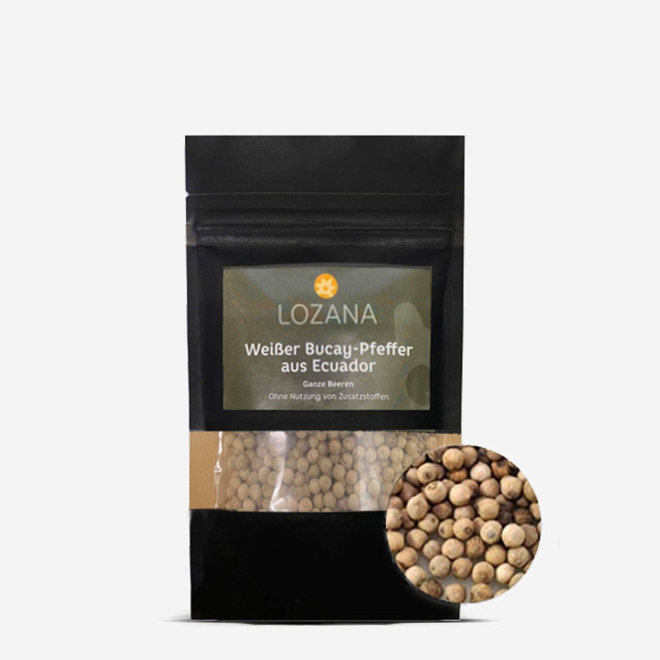 WHITE BUCAY PEPPER (70g) - WHOLE PEPPERCORNS FOR MORTAR AND MILL - ECUADOR