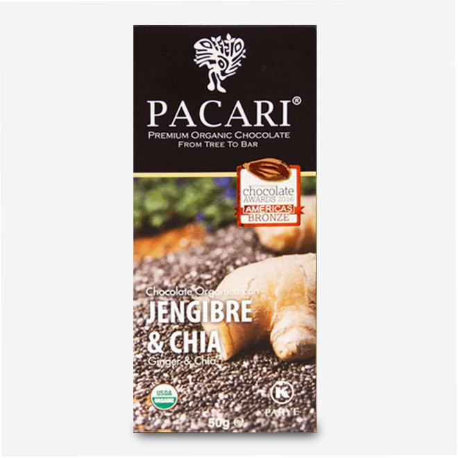 """CHOCOLATE """"ORGÁNICO CON JENGIBRE & CHIA"""" - 60% CACAO - 50g - ECUADOR"""