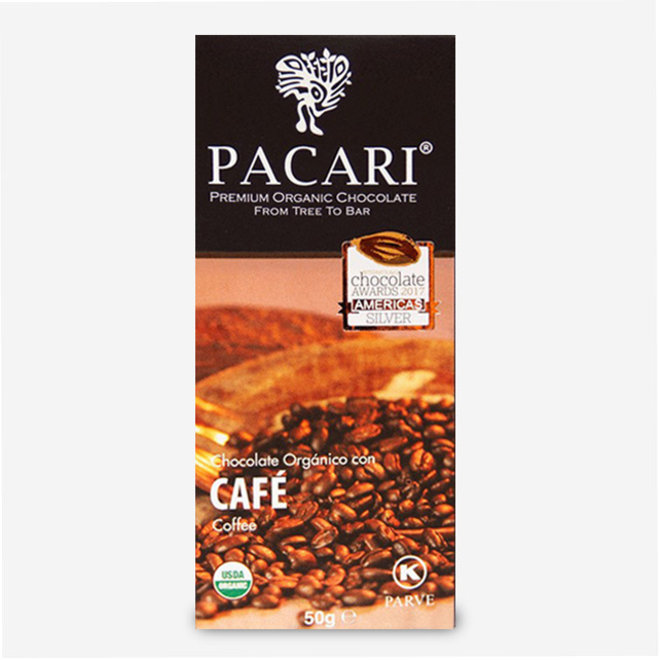 "ORGANIC RAW ""CHOCOLATE WITH COFFEE"" - 60% COCOA - 50g  - ECUADOR"