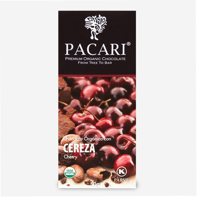 "ORGANIC RAW ""CHOCOLATE WITH CHERRY"" - 60% COCOA - 50g  - ECUADOR"