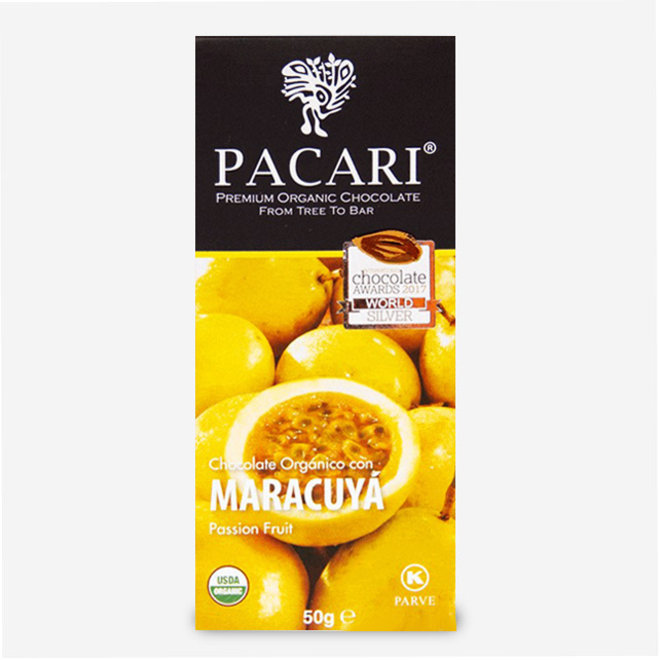 "ORGANIC RAW ""CHOCOLATE WITH MARACUJÁ"" - 60% COCOA - 50g  - ECUADOR"
