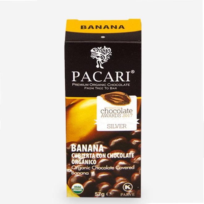 """ORGANIC RAW """"CHOCOLATE COVERED BANANA PIECES"""" - 60% COCOA - 57g  - ECUADOR"""