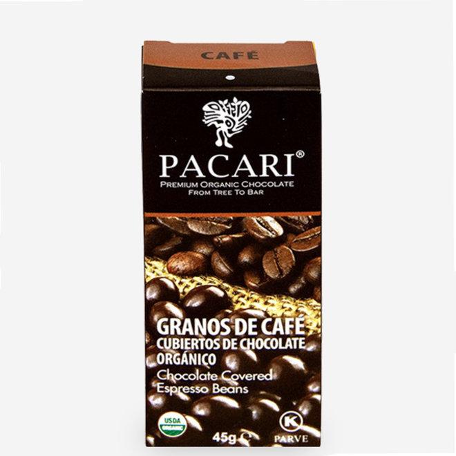 "ORGANIC RAW ""CHOCOLATE COVERED COFFEE BEANS"" - 60% COCOA - 57g  - ECUADOR"