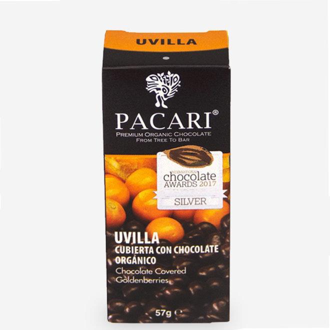 "ORGANIC RAW ""CHOCOLATE COVERED GOLDENBERRIES"" - 60% COCOA - 57g  - ECUADOR"