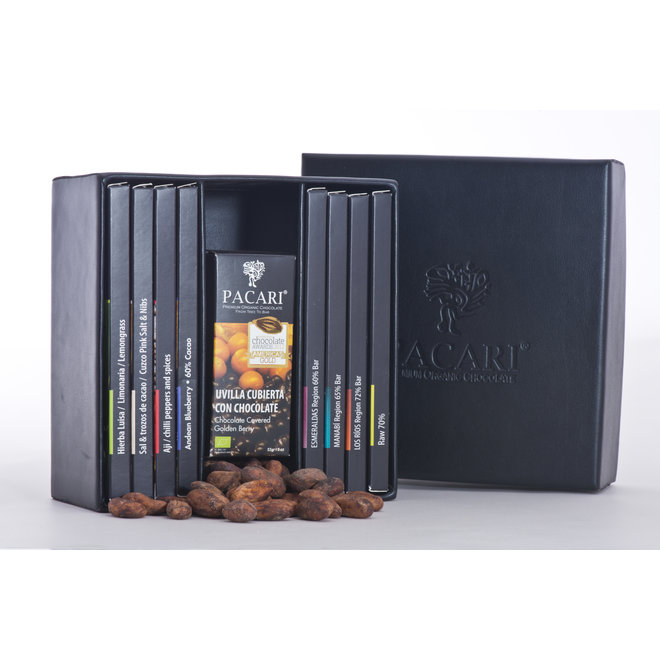 """BIG """"LEATHER GIFT BOX"""" WITH 8 CHOCOLATE BARS AND 2 COVERED FRUITS - 514g - ECUADOR"""