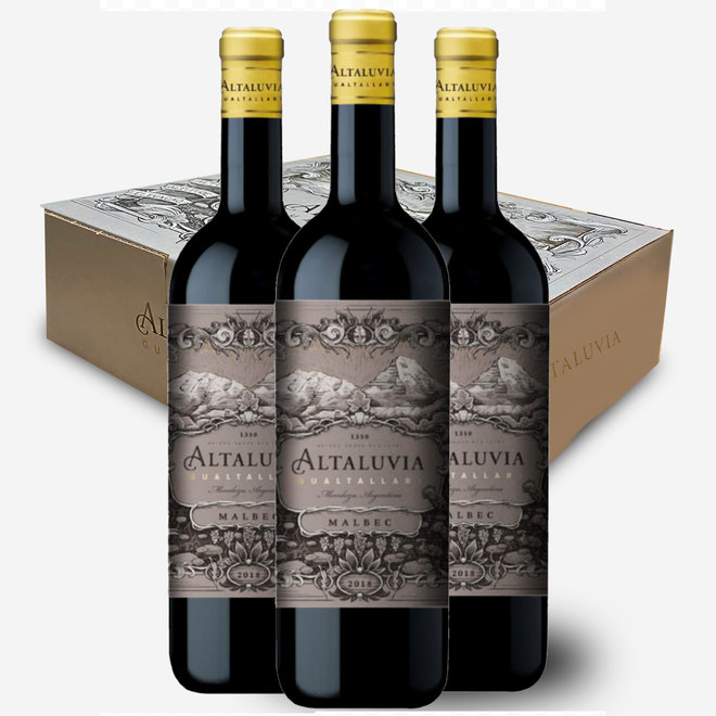 ALTALUVIA - 100% MALBEC - 3 BOTTLES  BOX - 2018 - ARGENTINA REMARCABLE!