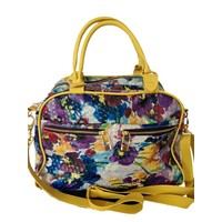 Leather bag, Floral print, Yellow, Flavio Dolce
