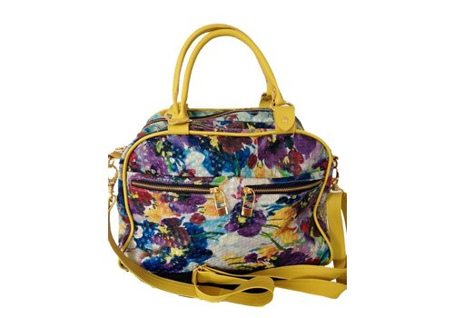 FLAVIO DOLCE Leather bag, Floral print, Yellow, Flavio Dolce