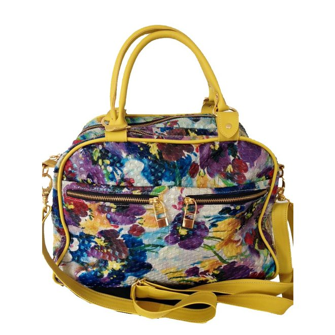 Leather bag, Floral print, Yellow