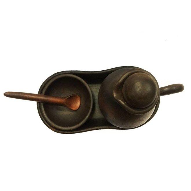 Ölkanne mit Gewürzschale, Keramik Pomaire Braun