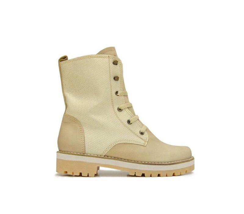 ANKLE BOOTS 100% LEATHER FROM URUGUAY - CREME GLOSS