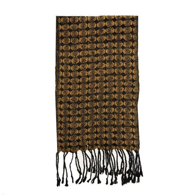 Bufanda beige-negro, 100% lana de alpaca