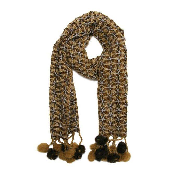 Bufanda beige-café, 100% lana de alpaca