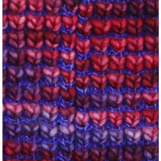 Bufanda loop Burbuja Azul-Lila, 100% lana Merino