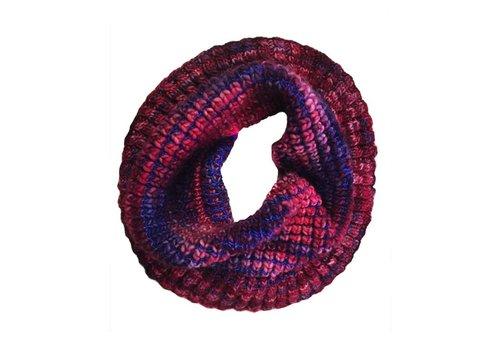 MONCLOA Bufanda loop Burbuja Azul-Lila, 100% lana Merino