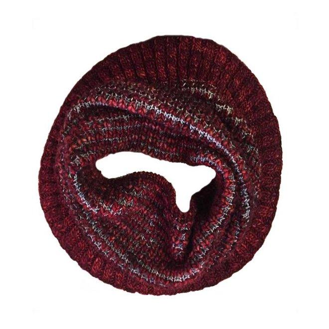 Loop scarf Burbuja red, 100% Merino Wool