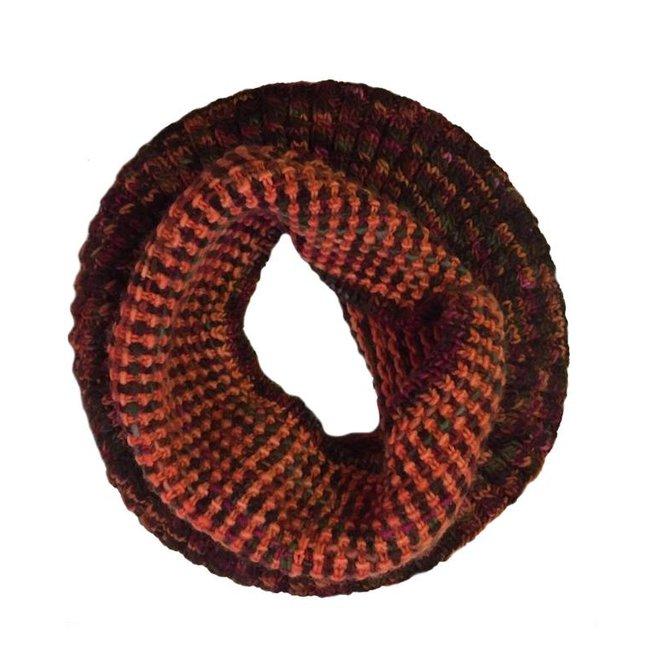 Loopschal Coral Orange, 100% Merino Wolle