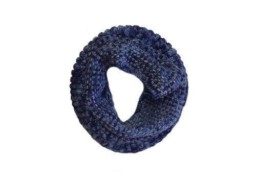 MONCLOA Loopschal Coral Blau, 100% Merino Wolle
