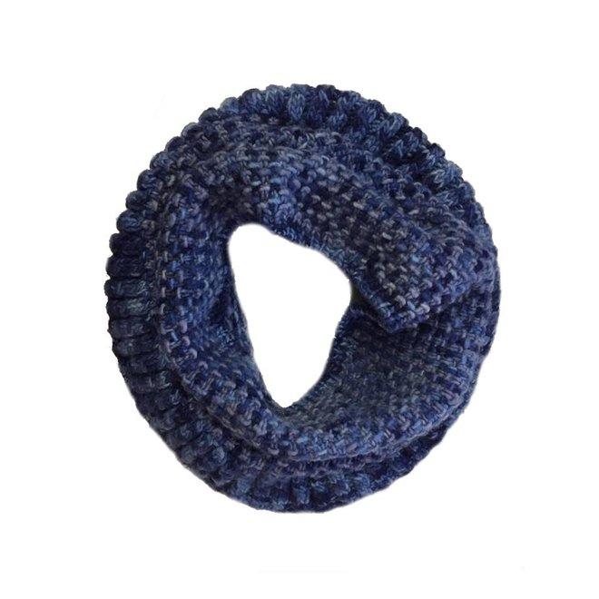 Bufanda loop Coral Azul, 100% lana Merino