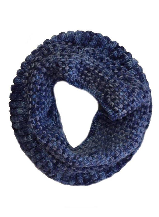 Loopschal Coral Blau, 100% Merino Wolle