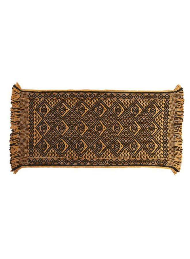 Carpet Mapuche Yellow Black, 150x70cm, 100% Sheep Wool