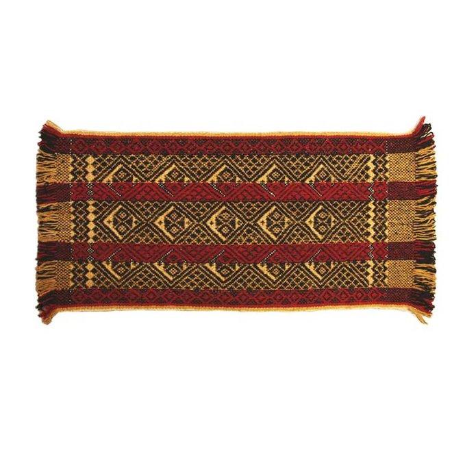 Alfombra Mapuche amarilla-roja-negra, 150x70cm, 100% lana de oveja