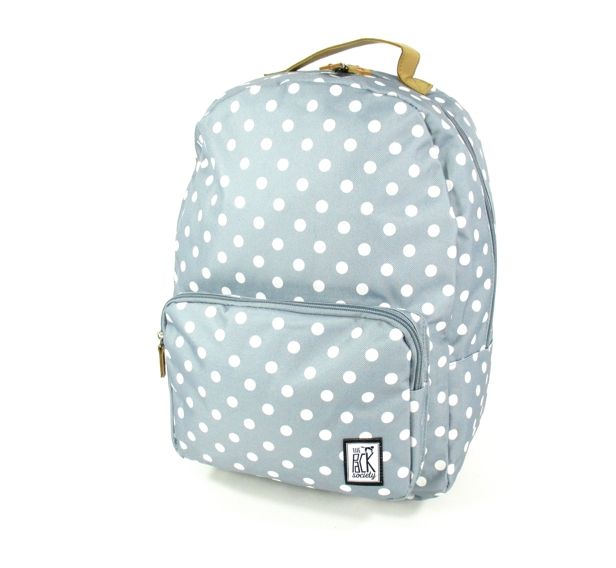 Image of Classic Backpack White dots allover Grijs