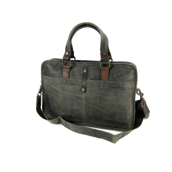 "Used look leren 13"" laptoptas business tas werktas RUVIDO Military"