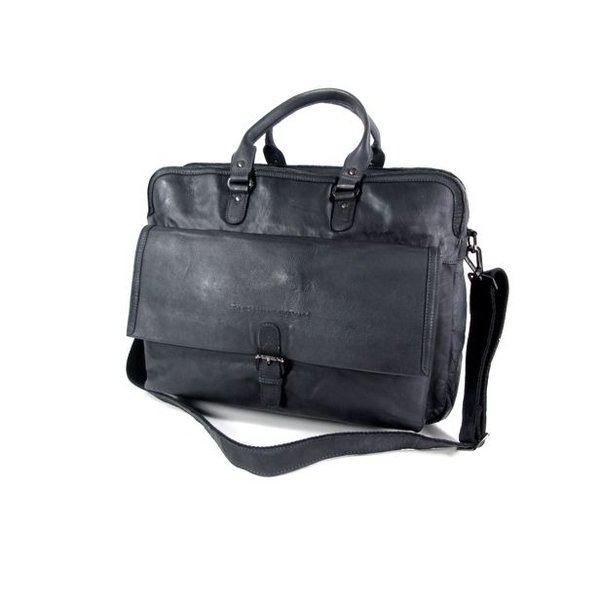 2 vaks 15,6 inch laptoptas Black Label Cow Hi-Veg JOHNNY Antraciet
