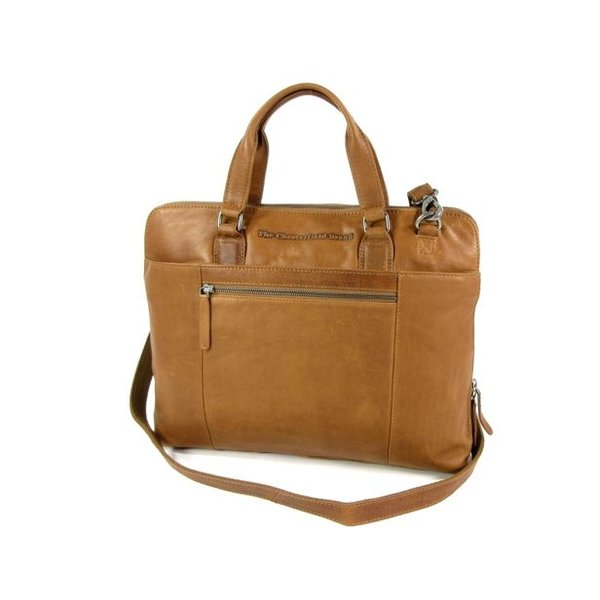 Ruime dames office bag L HANA wax pull up cognac