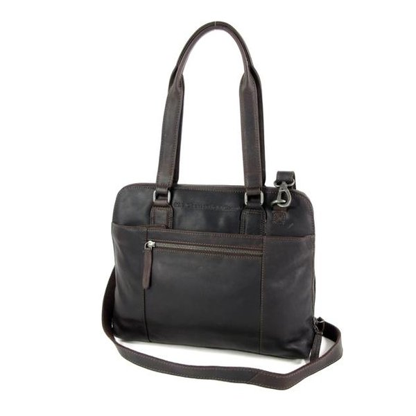Compacte dames office bag M CARA wax ull up bruin