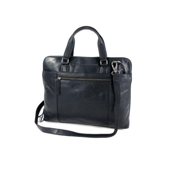 Ruime dames office bag L HANA wax pull up zwart