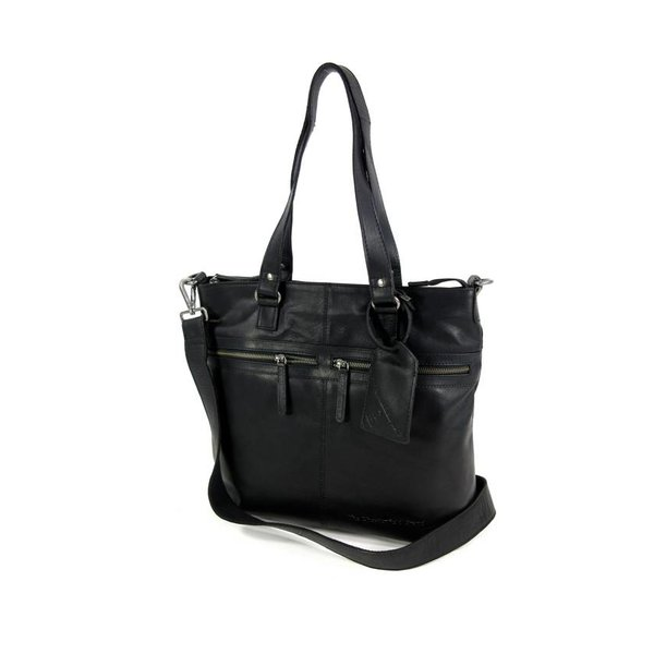 Leren shopper CLEO wax pull up zwart