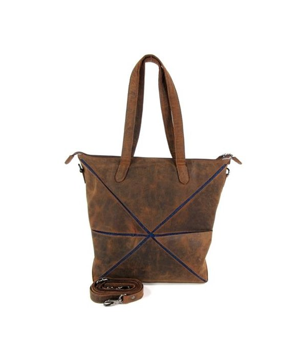 LEATHER DESIGN Vouwtas damestas shopper Hunter bruin jeans