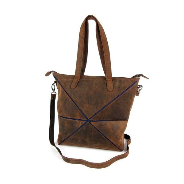 Vouwtas damestas shopper Hunter bruin jeans