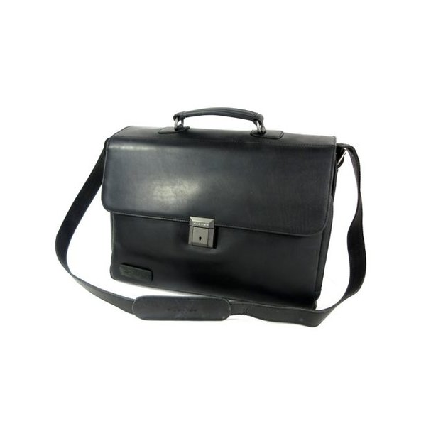 "MORSE Chique leren 3 vaks 15,6"" laptop business tas zwart"