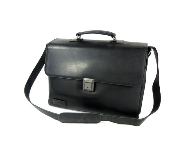 Plevier Full Grain Leather Laptoptas 15.6 zwart