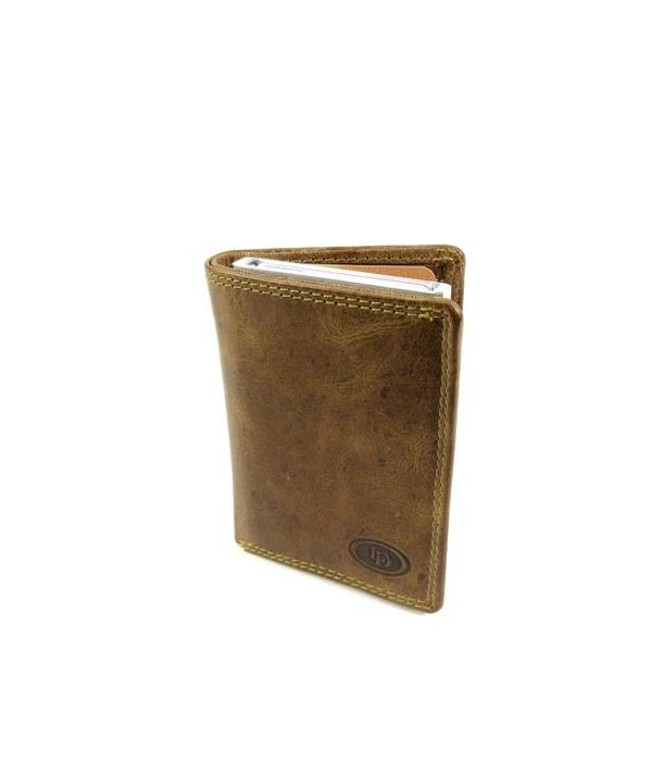 LEATHER DESIGN Met Figuretta Card protector klap portemonnee cognac