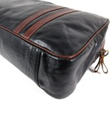 LEATHER DESIGN Retro leren sporttas tennistas weekender zwart cognac