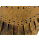 LEATHER DESIGN Gaaf hunter leren damestas met studs bruin