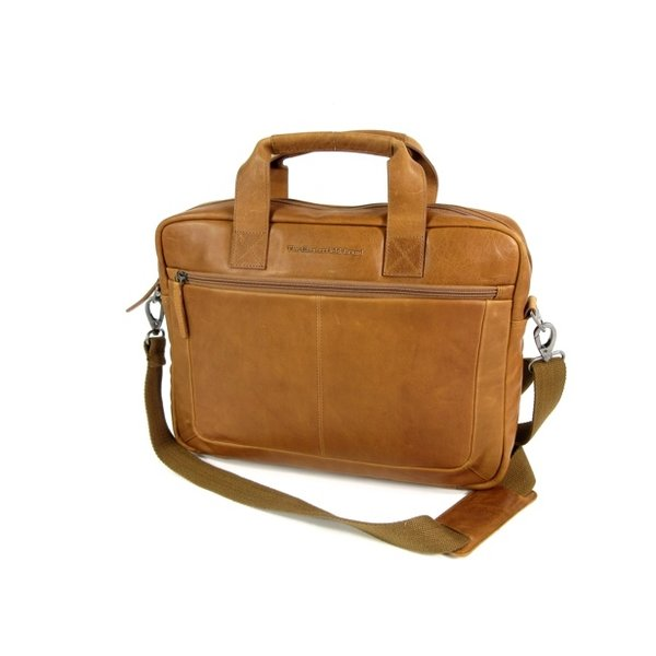 "Heren zakentas 15"" Laptop tas CALVI Wax Pull up Cognac"