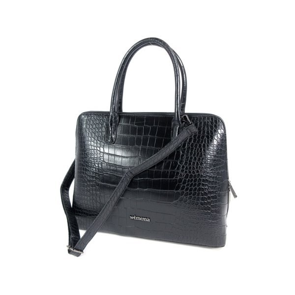 PU Croco Damestas office bag schooltas LUISA zwart
