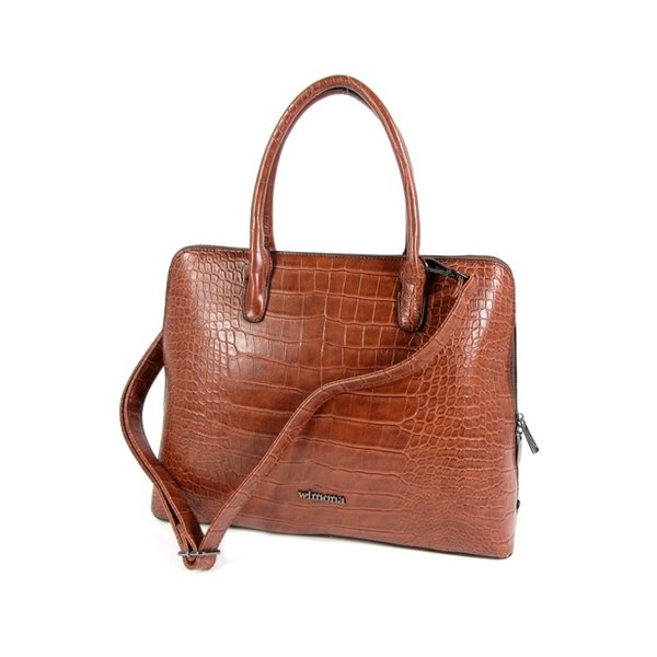 PU Croco Damestas office bag schooltas LUISA Bruin