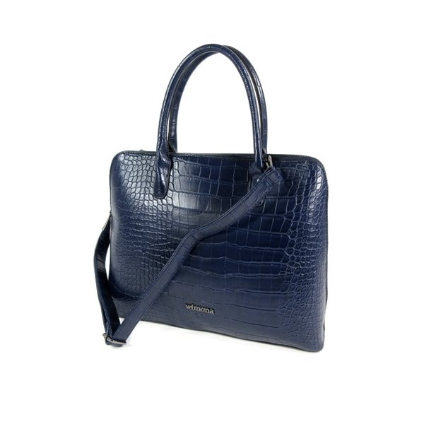 PU Croco Damestas office bag schooltas LUISA donker blauw