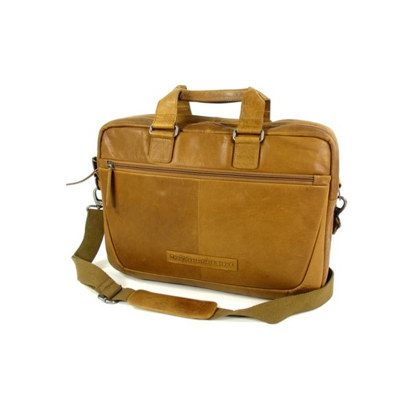 2 vaks business tas laptoptas SETH wax pull up Cognac