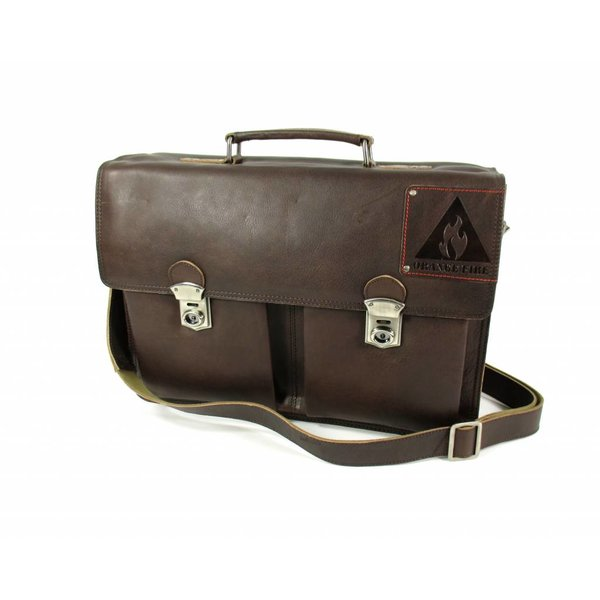 "Leren business tas laptoptas OLD SKOOL 15,6"" bruin"