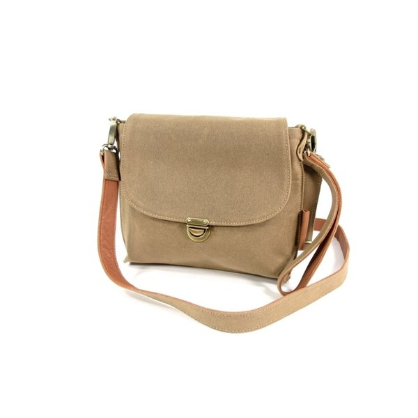 Dames schoudertas Latina Waxed Canvas Sand - cognac
