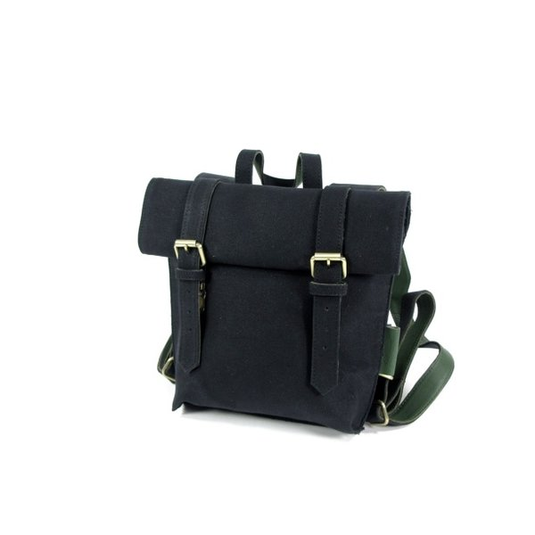 Dames roltop rugzak Opera Waxed Canvas Black – D groen